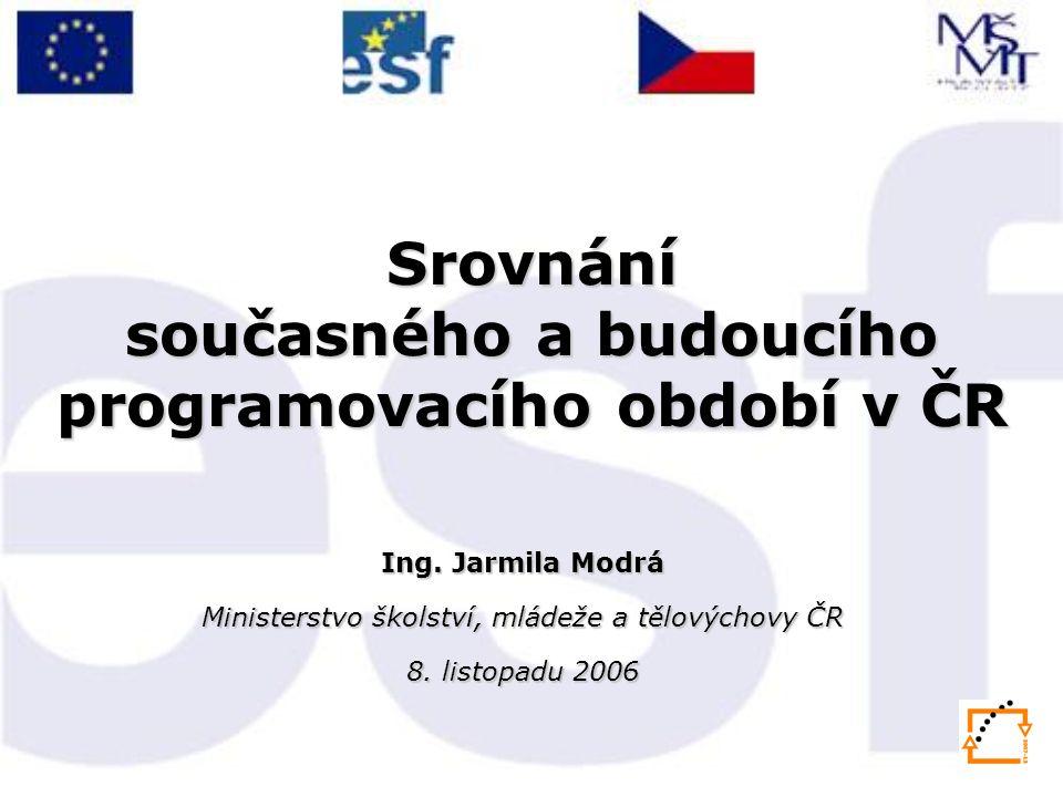 Srovnání současného a budoucího programovacího období v ČR Ing.