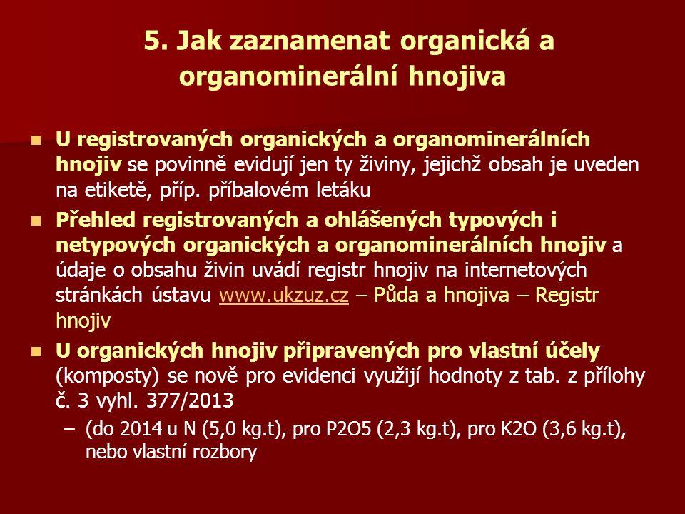 5. Jak zaznamenat organická a organominerální hnojiva U registrovaných organických a organominerálních hnojiv se povinně evidují jen ty živiny, jejich