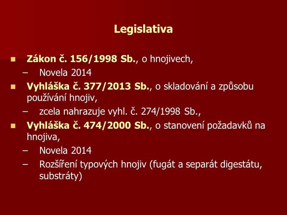 Legislativa Zákon č. 156/1998 Sb., o hnojivech, – –Novela 2014 Vyhláška č.