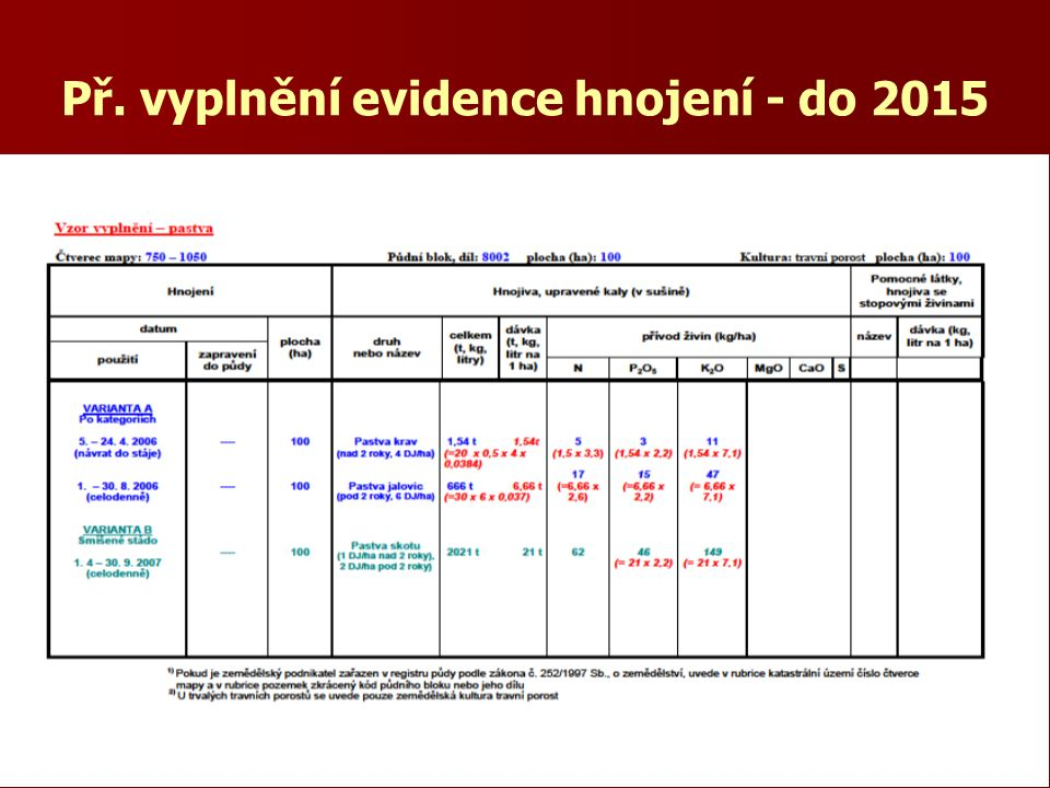 Př. vyplnění evidence hnojení - do 2015