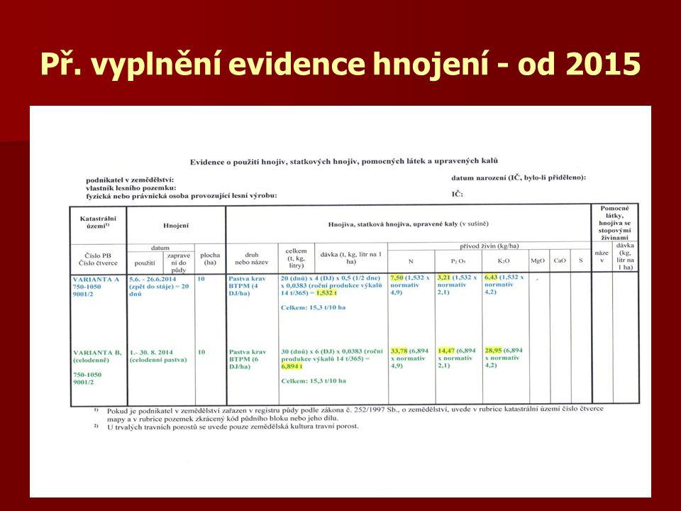 Př. vyplnění evidence hnojení - od 2015