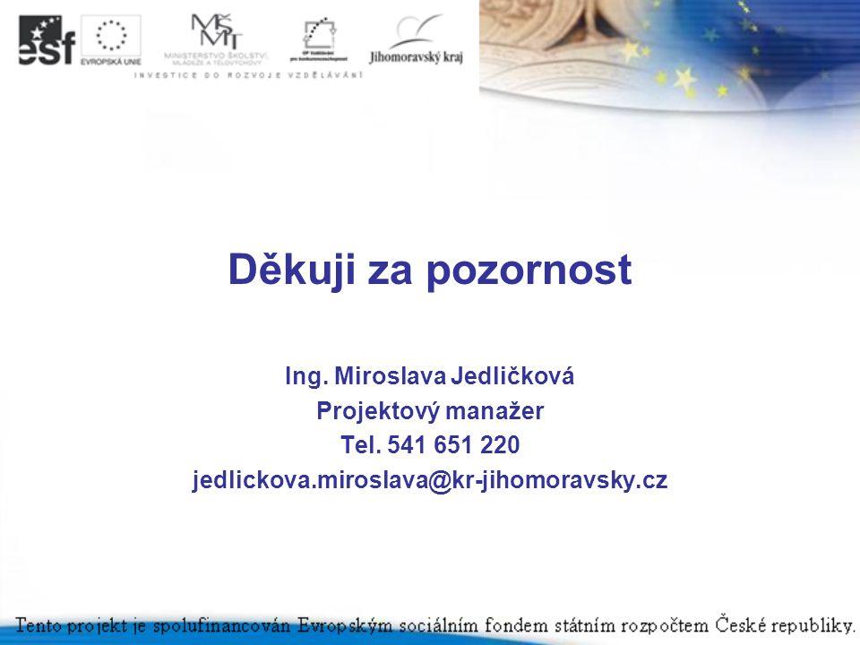 Děkuji za pozornost Ing. Miroslava Jedličková Projektový manažer Tel. 541 651 220 jedlickova.miroslava@kr-jihomoravsky.cz