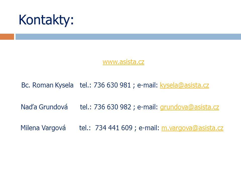 Kontakty: www.asista.cz Bc. Roman Kysela tel.: 736 630 981 ; e-mail: kysela@asista.czkysela@asista.cz Naďa Grundová tel.: 736 630 982 ; e-mail: grundo