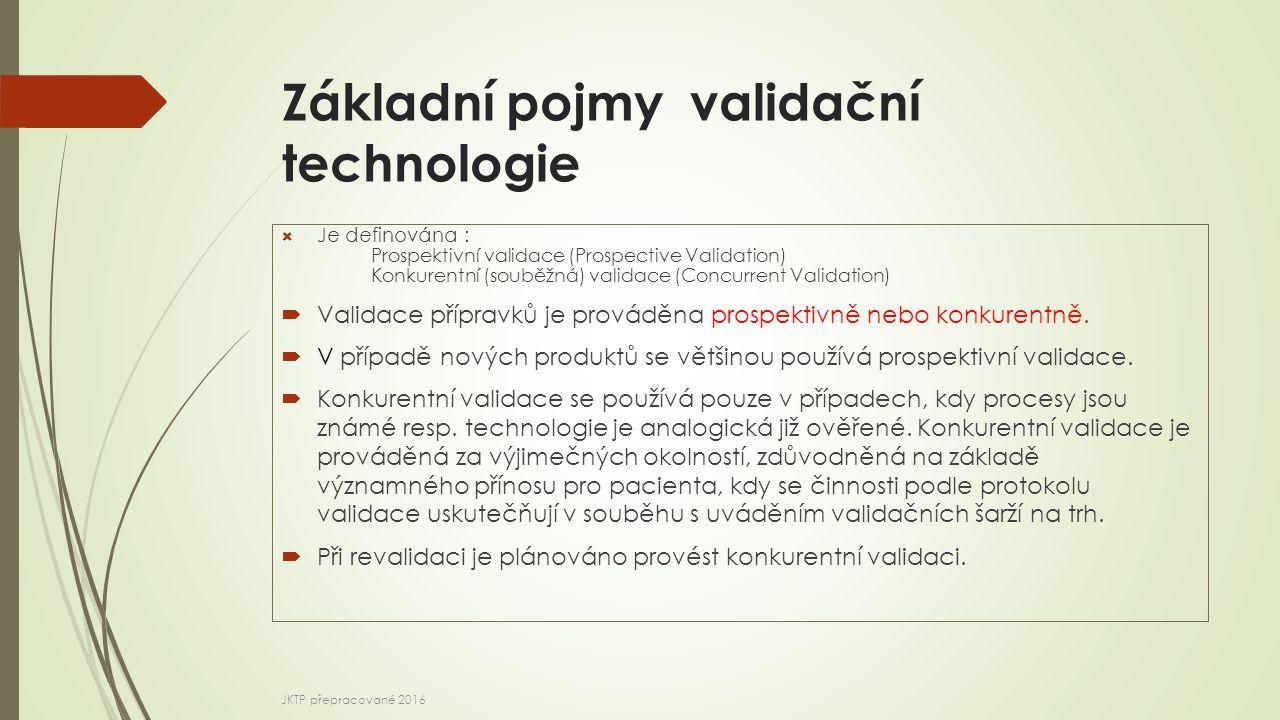 Základní pojmy validační technologie  Je definována : Prospektivní validace (Prospective Validation) Konkurentní (souběžná) validace (Concurrent Vali