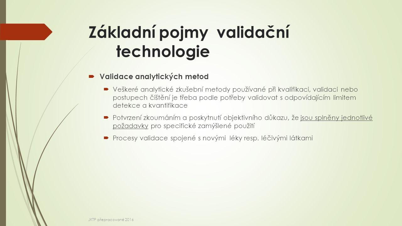Základní pojmy validační technologie  Validace analytických metod  Veškeré analytické zkušební metody používané při kvalifikaci, validaci nebo postupech čištění je třeba podle potřeby validovat s odpovídajícím limitem detekce a kvantifikace  Potvrzení zkoumáním a poskytnutí objektivního důkazu, že jsou splněny jednotlivé požadavky pro specifické zamýšlené použití  Procesy validace spojené s novými léky resp.