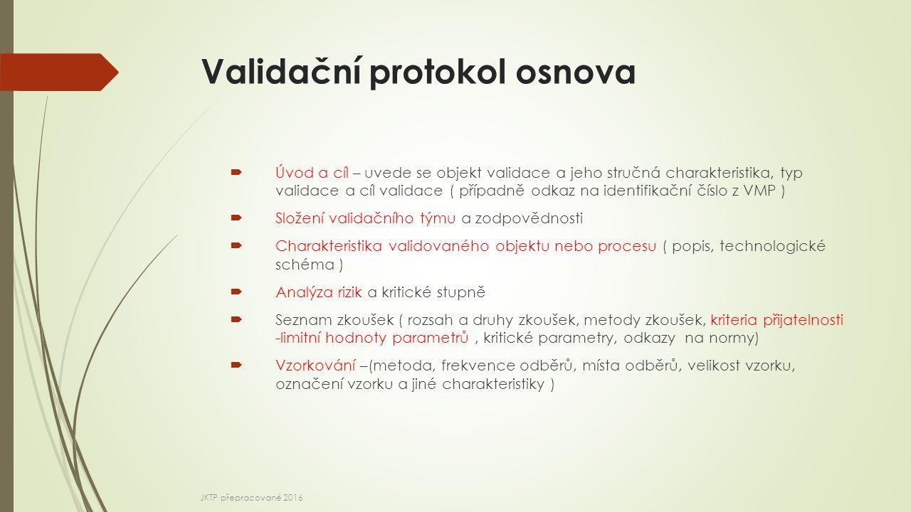 Validační protokol osnova  Úvod a cíl – uvede se objekt validace a jeho stručná charakteristika, typ validace a cíl validace ( případně odkaz na iden