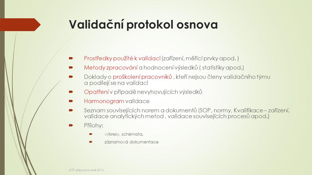 Validační protokol osnova  Prostředky použité k validaci (zařízení, měřící prvky apod. )  Metody zpracování a hodnocení výsledků ( statistiky apod.)