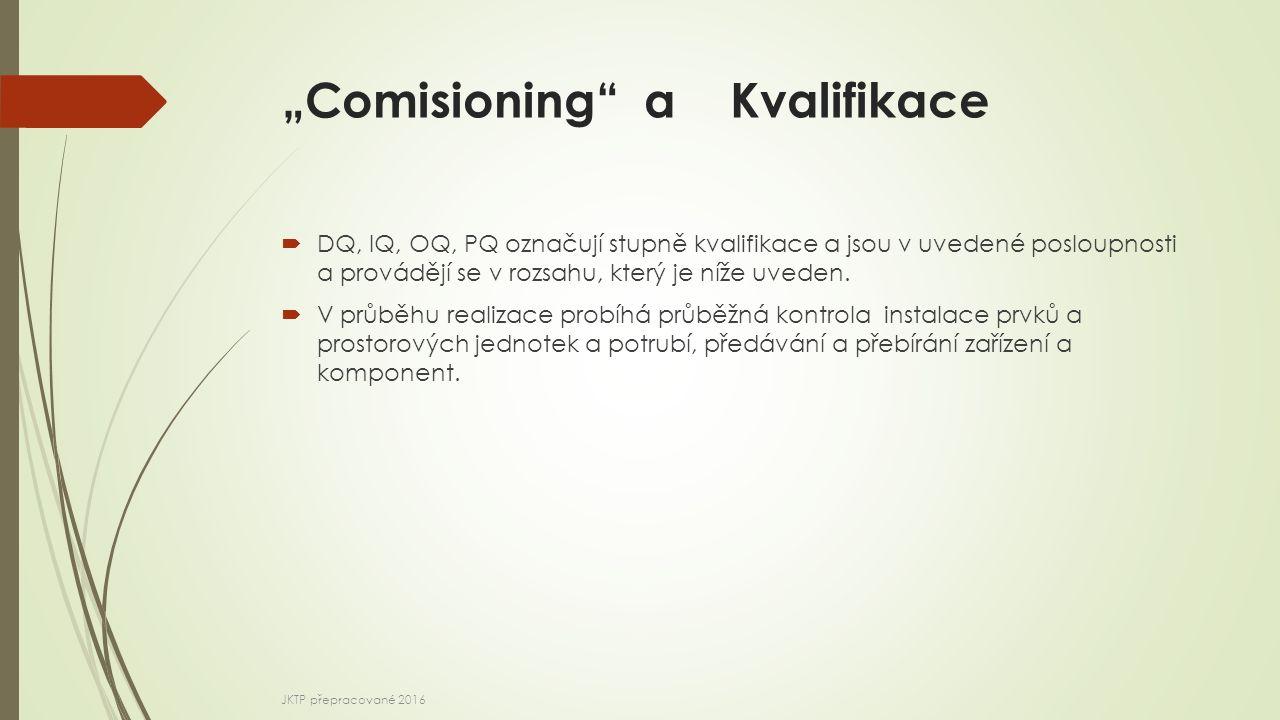 """""""Comisioning"""" a Kvalifikace  DQ, IQ, OQ, PQ označují stupně kvalifikace a jsou v uvedené posloupnosti a provádějí se v rozsahu, který je níže uveden."""