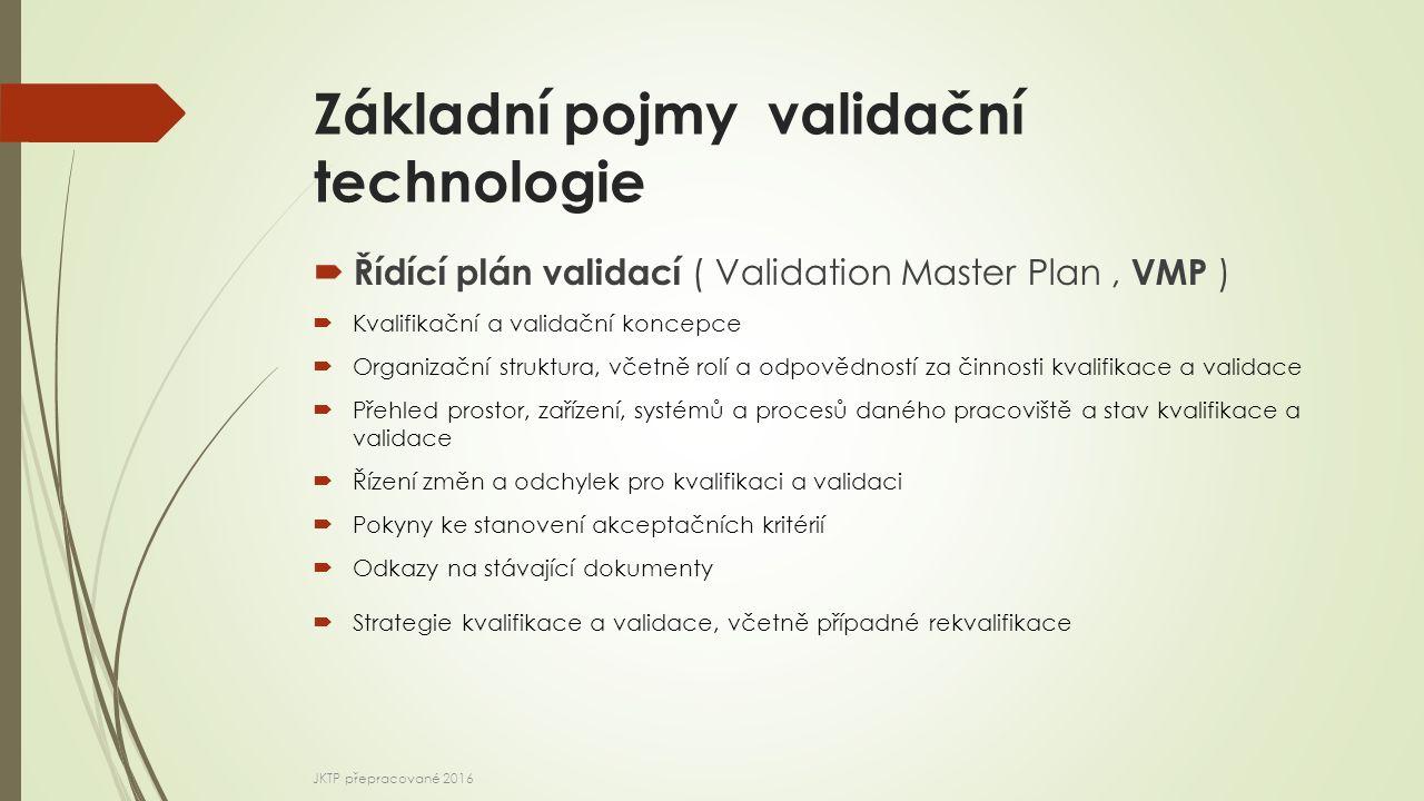 Základní pojmy validační technologie  Řídící plán validací ( Validation Master Plan, VMP )  Kvalifikační a validační koncepce  Organizační struktur
