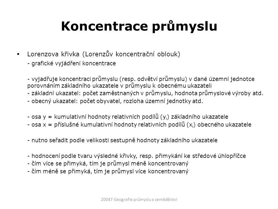 Koncentrace průmyslu  Lorenzova křivka (Lorenzův koncentrační oblouk) - grafické vyjádření koncentrace - vyjadřuje koncentraci průmyslu (resp. odvětv