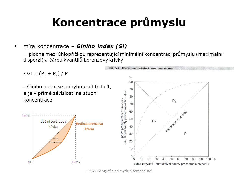 Koncentrace průmyslu  míra koncentrace – Giniho index (Gi) = plocha mezi úhlopříčkou reprezentující minimální koncentraci průmyslu (maximální disperz