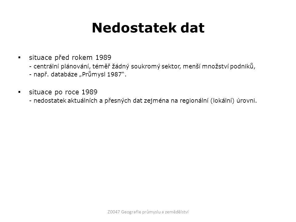 """Nedostatek dat  situace před rokem 1989 - centrální plánování, téměř žádný soukromý sektor, menší množství podniků, - např. databáze """"Průmysl 1987""""."""