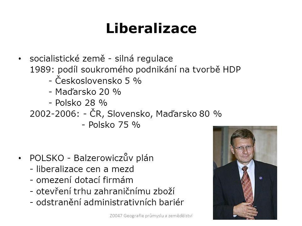 Liberalizace socialistické země - silná regulace 1989: podíl soukromého podnikání na tvorbě HDP - Československo 5 % - Maďarsko 20 % - Polsko 28 % 200