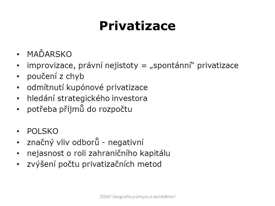 """Privatizace MAĎARSKO improvizace, právní nejistoty = """"spontánní"""" privatizace poučení z chyb odmítnutí kupónové privatizace hledání strategického inves"""