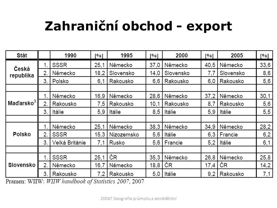 Zahraniční obchod - export Z0047 Geografie průmyslu a zemědělství