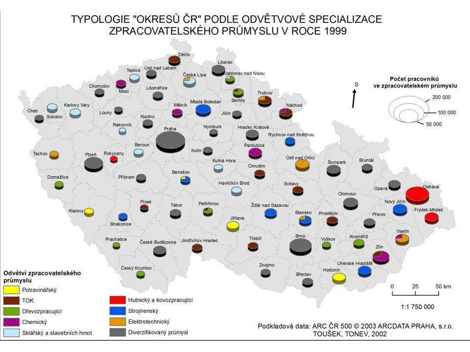 Koncentrace průmyslu  areály územní koncentrace - syntetický ukazatel, původ při hodnocení rozmístění obyvatelstva - jako výchozí jednotka se bere obec či okres - hledání plochy (území, prostoru), na které je soustředěno X % pracovníků v průmyslu a zároveň dosaženo hodnoty Y (např.