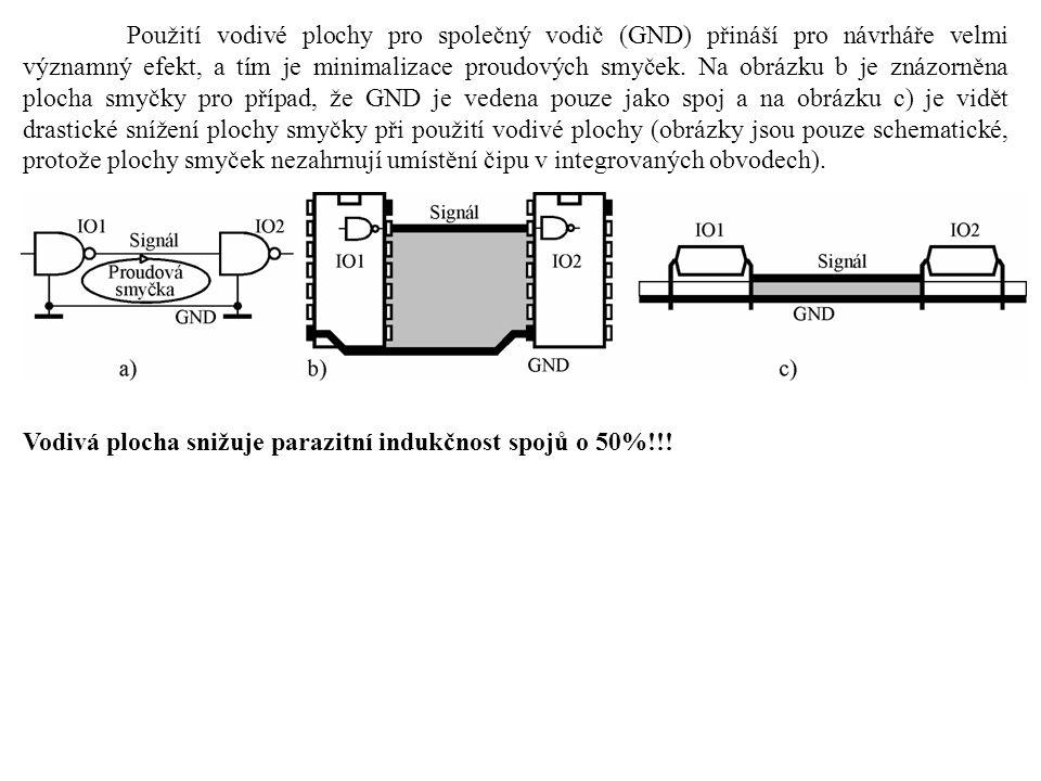Použití vodivé plochy pro společný vodič (GND) přináší pro návrháře velmi významný efekt, a tím je minimalizace proudových smyček. Na obrázku b je zná