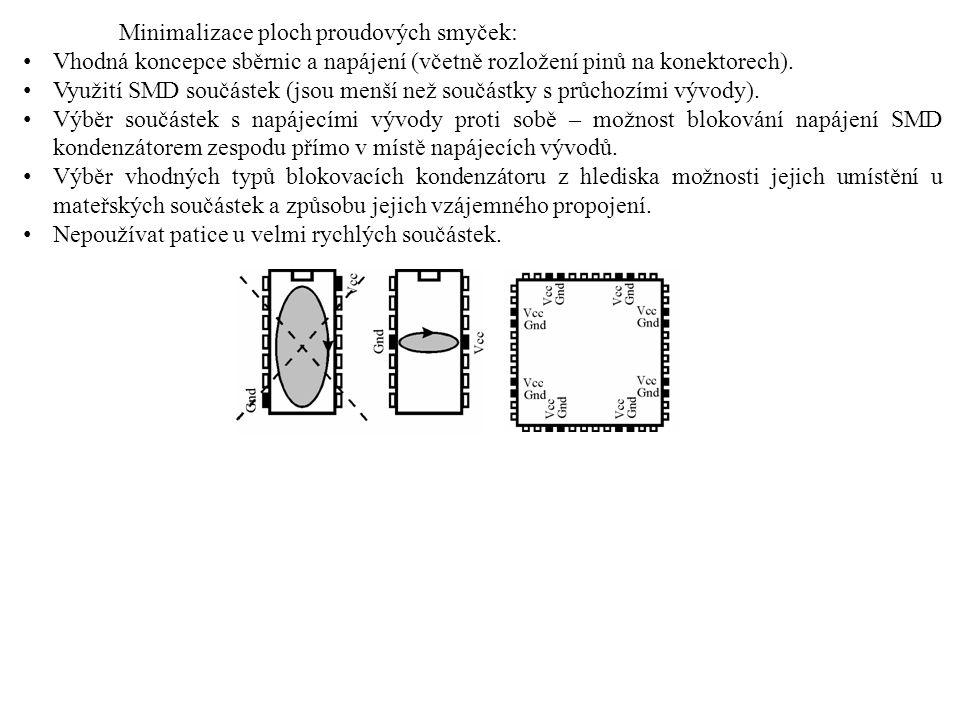 Minimalizace ploch proudových smyček: Vhodná koncepce sběrnic a napájení (včetně rozložení pinů na konektorech). Využití SMD součástek (jsou menší než