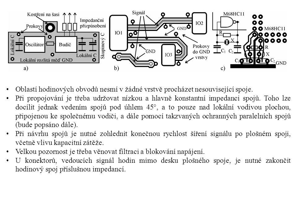 Oblastí hodinových obvodů nesmí v žádné vrstvě procházet nesouvisející spoje. Při propojování je třeba udržovat nízkou a hlavně konstantní impedanci s