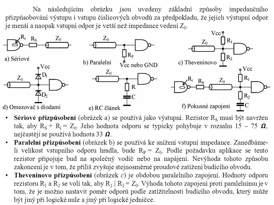 Na následujícím obrázku jsou uvedeny základní způsoby impedančního přizpůsobování výstupu i vstupu číslicových obvodů za předpokladu, že jejich výstupní odpor je menší a naopak vstupní odpor je vetší než impedance vedení Z 0.
