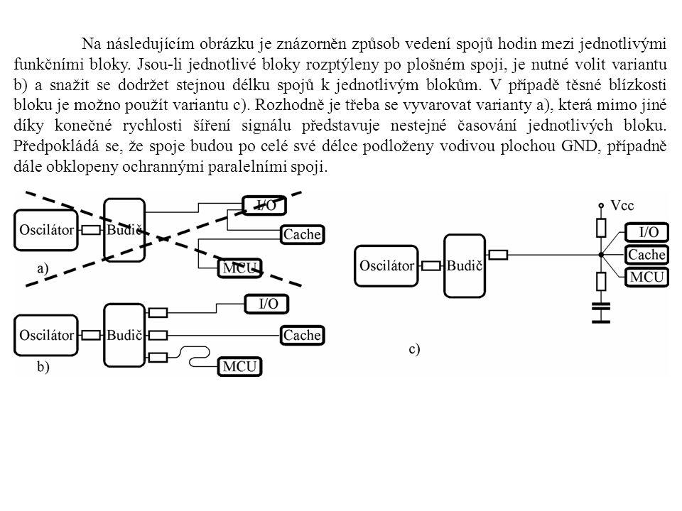 Na následujícím obrázku je znázorněn způsob vedení spojů hodin mezi jednotlivými funkčními bloky. Jsou-li jednotlivé bloky rozptýleny po plošném spoji
