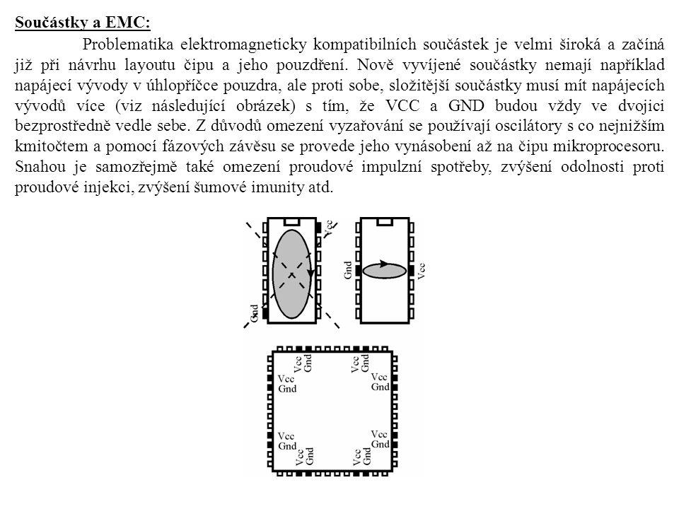 Součástky a EMC: Problematika elektromagneticky kompatibilních součástek je velmi široká a začíná již při návrhu layoutu čipu a jeho pouzdření.