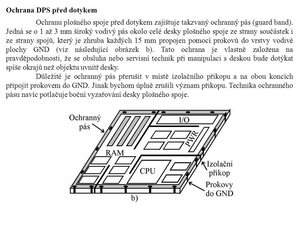 Ochrana DPS před dotykem Ochranu plošného spoje před dotykem zajištuje takzvaný ochranný pás (guard band). Jedná se o 1 až 3 mm široký vodivý pás okol
