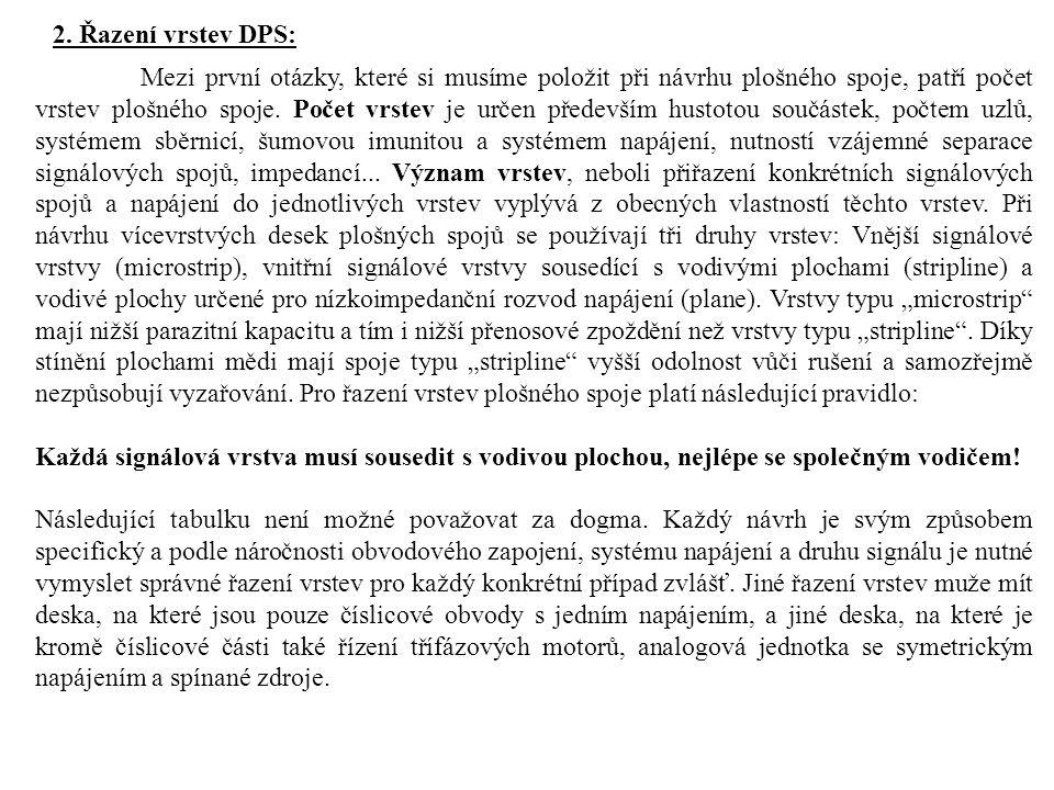 2. Řazení vrstev DPS: Mezi první otázky, které si musíme položit při návrhu plošného spoje, patří počet vrstev plošného spoje. Počet vrstev je určen p