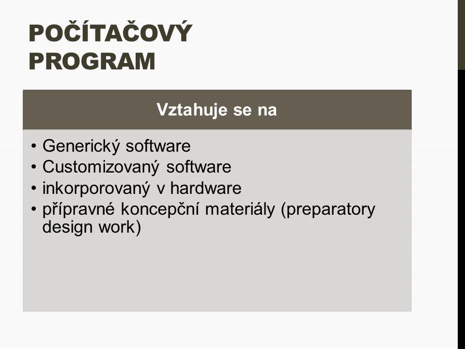 POČÍTAČOVÝ PROGRAM Vztahuje se na Generický software Customizovaný software inkorporovaný v hardware přípravné koncepční materiály (preparatory design work)