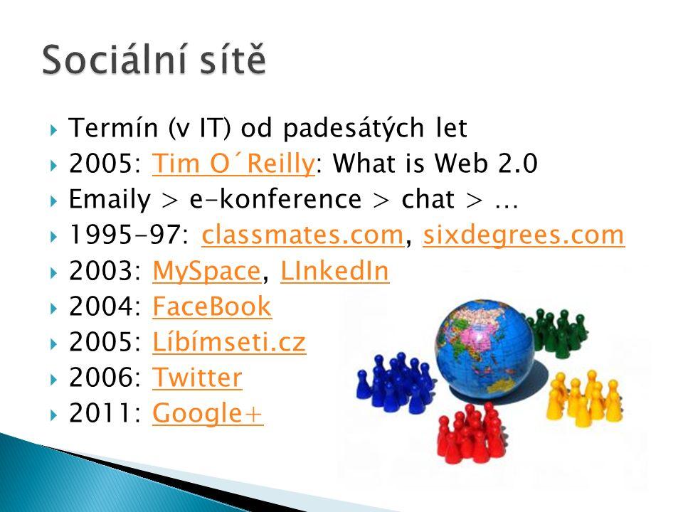  Termín (v IT) od padesátých let  2005: Tim O´Reilly: What is Web 2.0Tim O´Reilly  Emaily > e-konference > chat > …  1995-97: classmates.com, sixdegrees.comclassmates.comsixdegrees.com  2003: MySpace, LInkedInMySpaceLInkedIn  2004: FaceBookFaceBook  2005: Líbímseti.czLíbímseti.cz  2006: TwitterTwitter  2011: Google+Google+