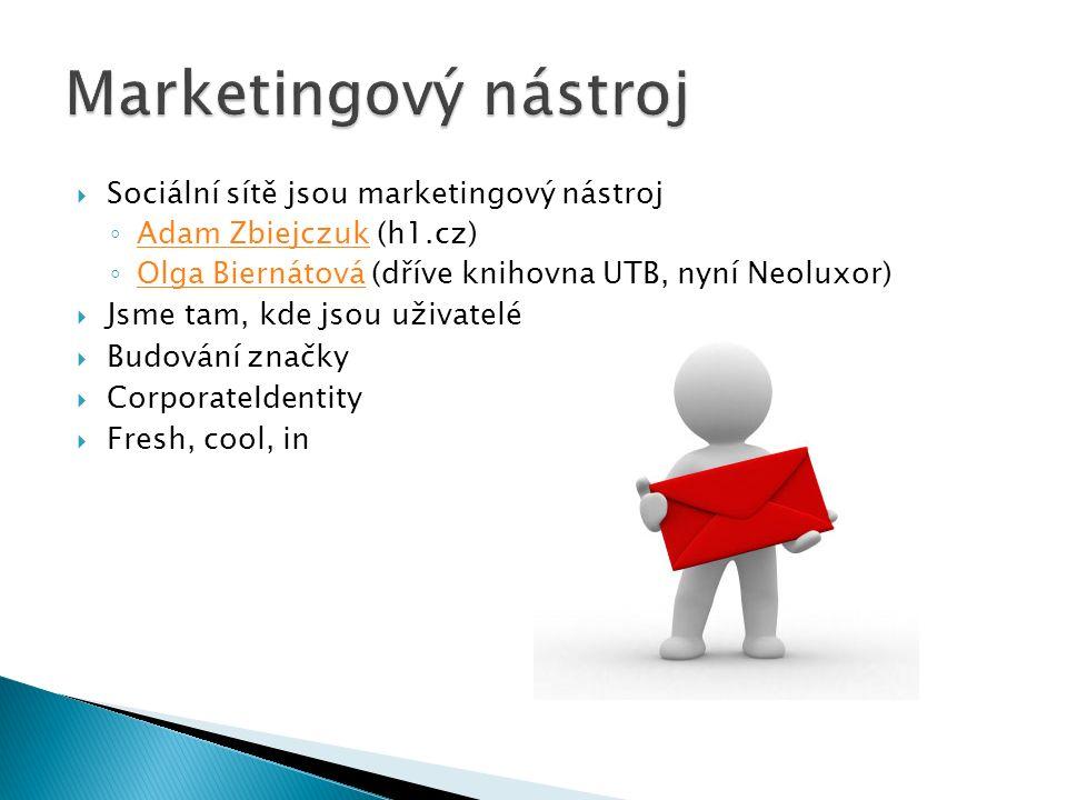  Sociální sítě jsou marketingový nástroj ◦ Adam Zbiejczuk (h1.cz) Adam Zbiejczuk ◦ Olga Biernátová (dříve knihovna UTB, nyní Neoluxor) Olga Biernátová  Jsme tam, kde jsou uživatelé  Budování značky  CorporateIdentity  Fresh, cool, in