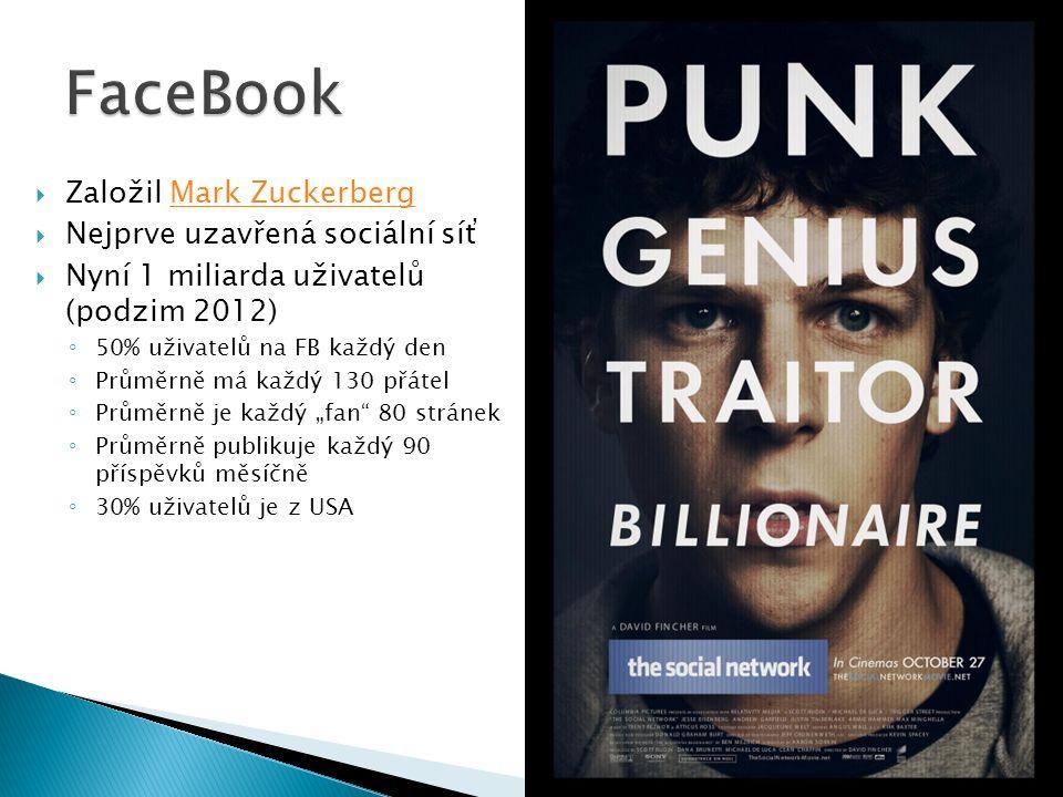 """ Založil Mark ZuckerbergMark Zuckerberg  Nejprve uzavřená sociální síť  Nyní 1 miliarda uživatelů (podzim 2012) ◦ 50% uživatelů na FB každý den ◦ Průměrně má každý 130 přátel ◦ Průměrně je každý """"fan 80 stránek ◦ Průměrně publikuje každý 90 příspěvků měsíčně ◦ 30% uživatelů je z USA"""