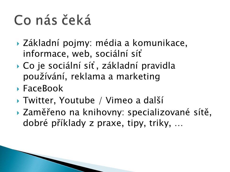  Základní pojmy: média a komunikace, informace, web, sociální síť  Co je sociální síť, základní pravidla používání, reklama a marketing  FaceBook  Twitter, Youtube / Vimeo a další  Zaměřeno na knihovny: specializované sítě, dobré příklady z praxe, tipy, triky, …