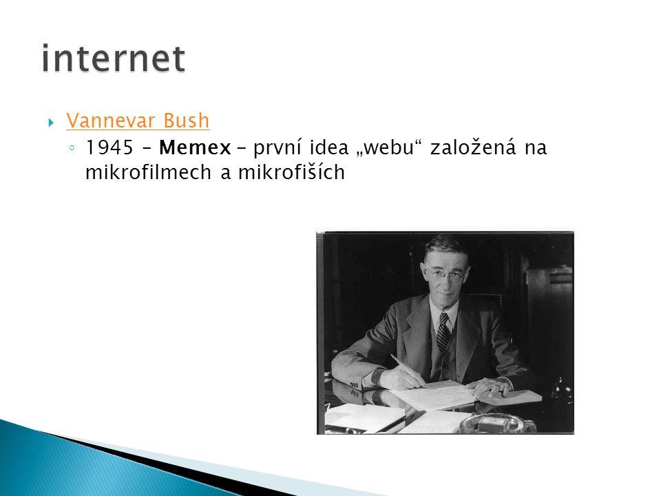 """ Vannevar Bush Vannevar Bush ◦ 1945 – Memex – první idea """"webu založená na mikrofilmech a mikrofiších"""