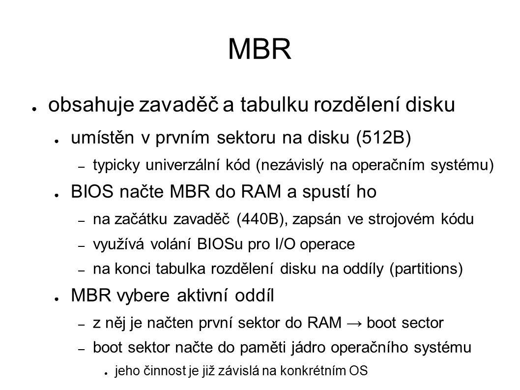 MBR ● obsahuje zavaděč a tabulku rozdělení disku ● umístěn v prvním sektoru na disku (512B) – typicky univerzální kód (nezávislý na operačním systému) ● BIOS načte MBR do RAM a spustí ho – na začátku zavaděč (440B), zapsán ve strojovém kódu – využívá volání BIOSu pro I/O operace – na konci tabulka rozdělení disku na oddíly (partitions) ● MBR vybere aktivní oddíl – z něj je načten první sektor do RAM → boot sector – boot sektor načte do paměti jádro operačního systému ● jeho činnost je již závislá na konkrétním OS