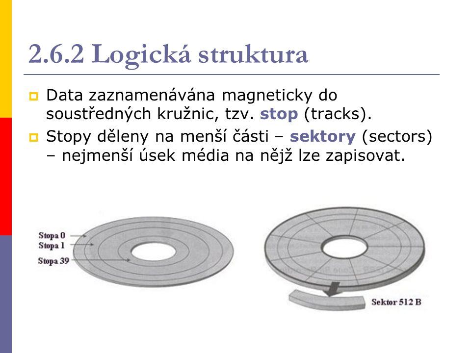 2.6.3 Charakteristiky  kapacita: DS (Double Side) – oboustranný záznam DD (Double Density) – dvojitá hustota HD (High Density) – vysoká hustota VelikostHustotaStop SektorůStrany Kapacita sektoru Kapacita diskety 51/4 51/4 DD40 92 512 B360 kB 51/4 51/4 HD80 152 512 B1,2 MB 31/2 31/2 DD 80 92 512 B720 kB 31/2 31/2 HD 80 182 512 B1,44 MB Dnes pouze 3 1 / 2 HD