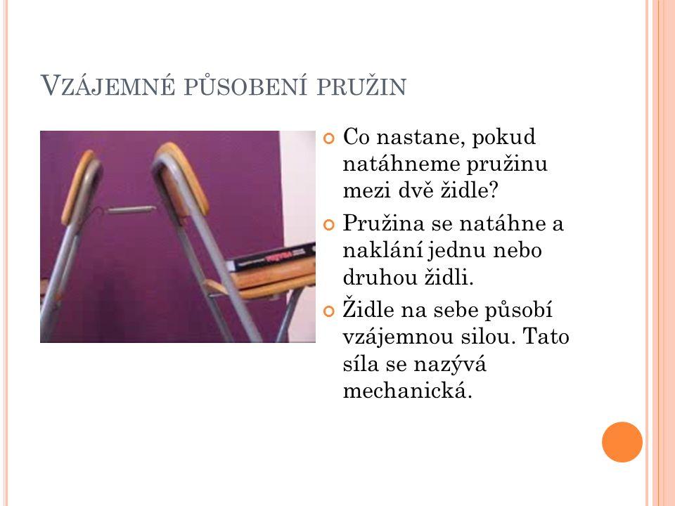 V ZÁJEMNÉ PŮSOBENÍ PRUŽIN Co nastane, pokud natáhneme pružinu mezi dvě židle? Pružina se natáhne a naklání jednu nebo druhou židli. Židle na sebe půso