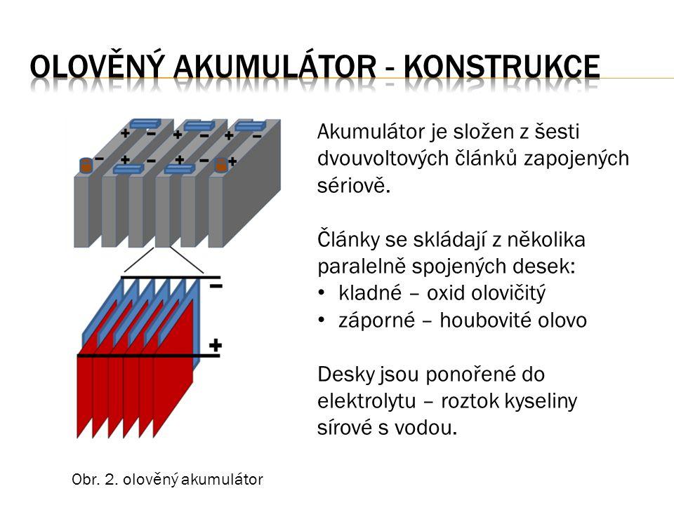 Články jsou zapojeny sériově jmenovité napětí jednoho článku je 2V Olověné desky kladné a záporné Separátory = oddělovače elektrod oddělují desky, brání jejich dotyku a zkratu umožňují chemickou reakci mezi deskami Propojovací můstky spojují desky a články