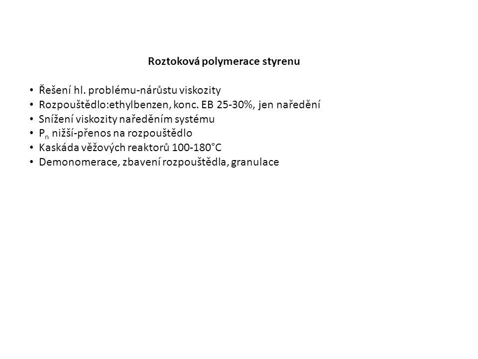 Roztoková polymerace styrenu Řešení hl. problému-nárůstu viskozity Rozpouštědlo:ethylbenzen, konc.