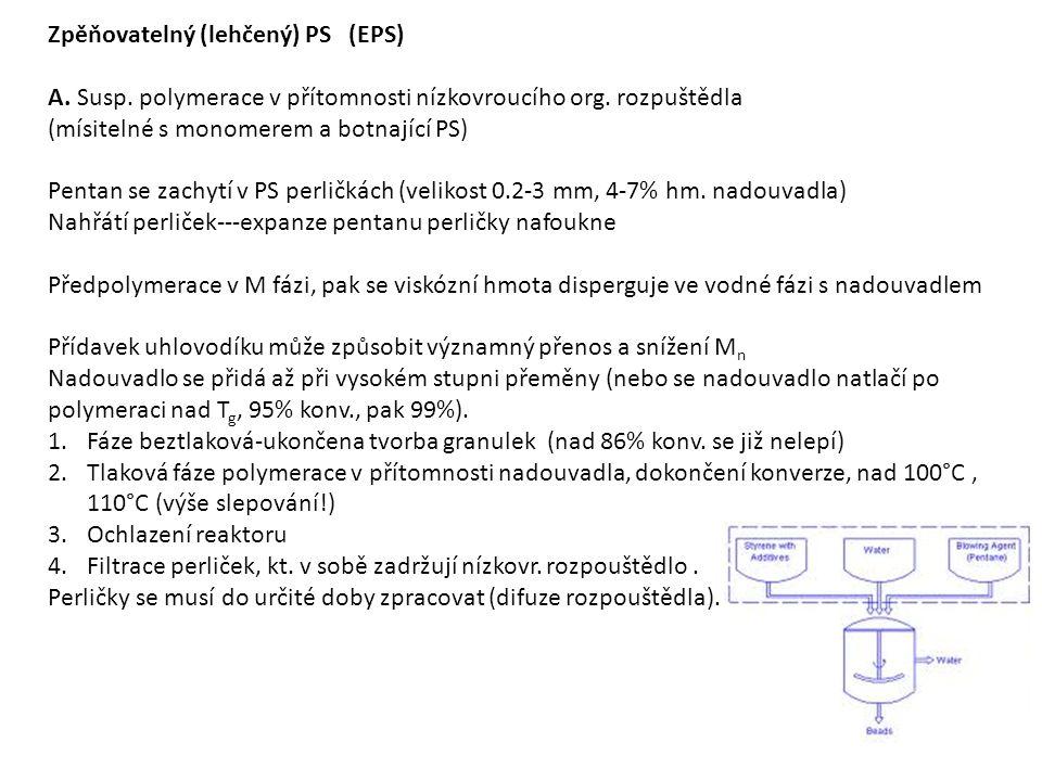 Zpěňovatelný (lehčený) PS (EPS) A. Susp. polymerace v přítomnosti nízkovroucího org.