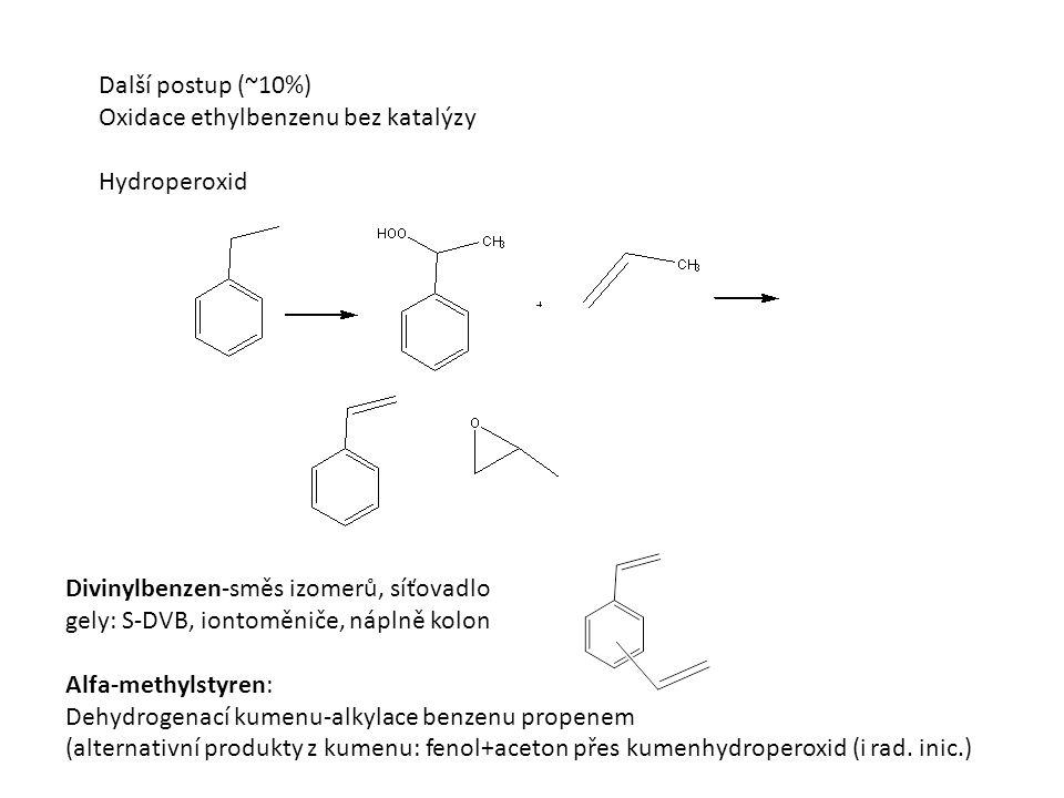 Další postup (~10%) Oxidace ethylbenzenu bez katalýzy Hydroperoxid Divinylbenzen-směs izomerů, síťovadlo gely: S-DVB, iontoměniče, náplně kolon Alfa-methylstyren: Dehydrogenací kumenu-alkylace benzenu propenem (alternativní produkty z kumenu: fenol+aceton přes kumenhydroperoxid (i rad.