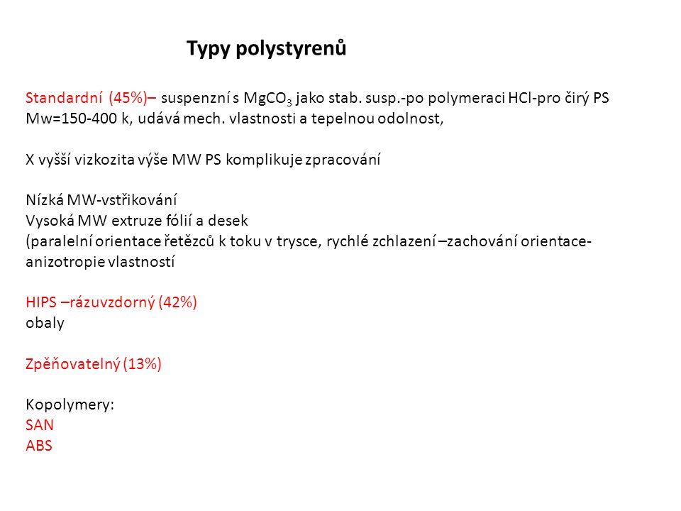"""Radikálová polymerace styrenu - nejrozšířenější Všechny typy procesů i všechny typy iniciátorů Lze vyvolat i jen teplem (složitý mechanismus) Pokud je M čistý probíhá termická polymerace reprodukovatelně==lze využít průmyslově a získá se nejčistší polymer-(připomína sklo ==krystalový polystyren) k I ~[M] 3 Iniciátory: peroxidy, azoiniciátory, záření Naprostá většina polymerací S doprovázena gel efektem Nad 100°C se gel efekt neuplatňuje V průmyslu polymerace v monomerní fázi (tepelná iniciace), nejrozšířenější suspenzní a roztoková polymerace Kopolymerace: příznivé kopolymerační parametry velmi levný monomer  Často se používá jako """"nastavovadlo Kopolymery s BD, AN, MMA+ další akryláty, VAc, maleinanhydridem"""
