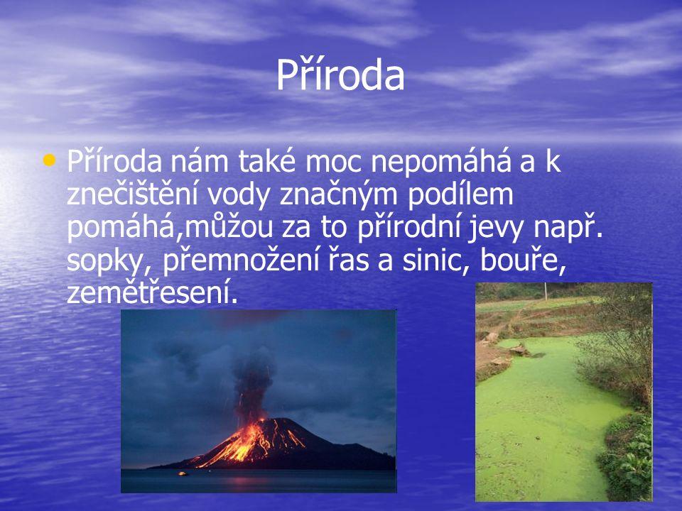 Příroda Příroda nám také moc nepomáhá a k znečištění vody značným podílem pomáhá,můžou za to přírodní jevy např.