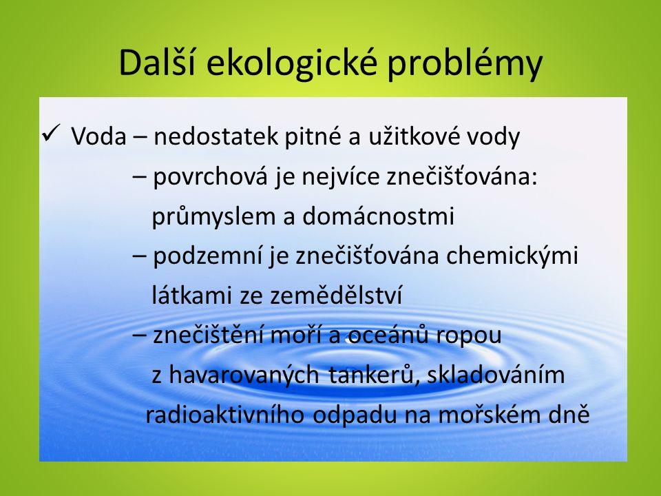 Další ekologické problémy Půda – znečišťována spadem z ovzduší znečištěnou vodou člověkem (používáním chemikálií proti škůdcům, umělých hnojiv, vyhazováním odpadků) – je ohrožena erozí =odnášení, vymílání půdy
