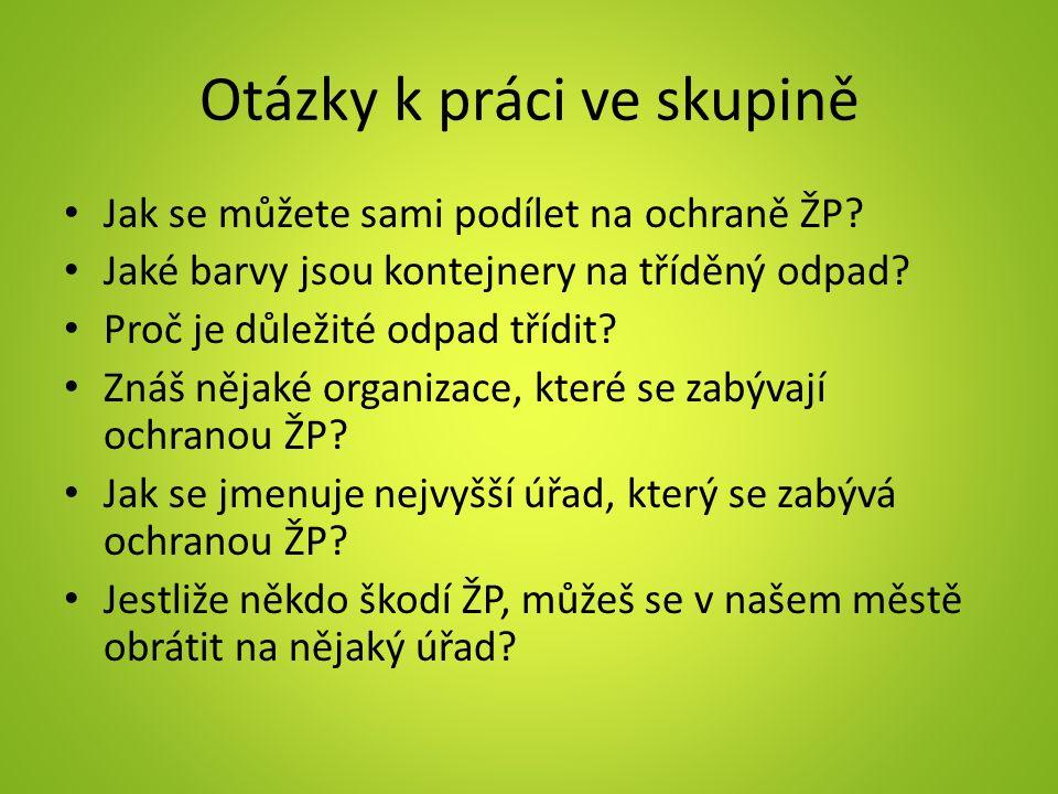 Otázky k práci ve skupině Jak se můžete sami podílet na ochraně ŽP.