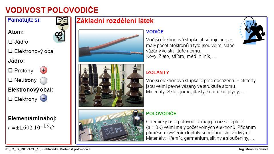 VODIVOST POLOVODIČE 01_02_32_INOVACE_10, Elektronika, Vodivost polovodiče Ing.