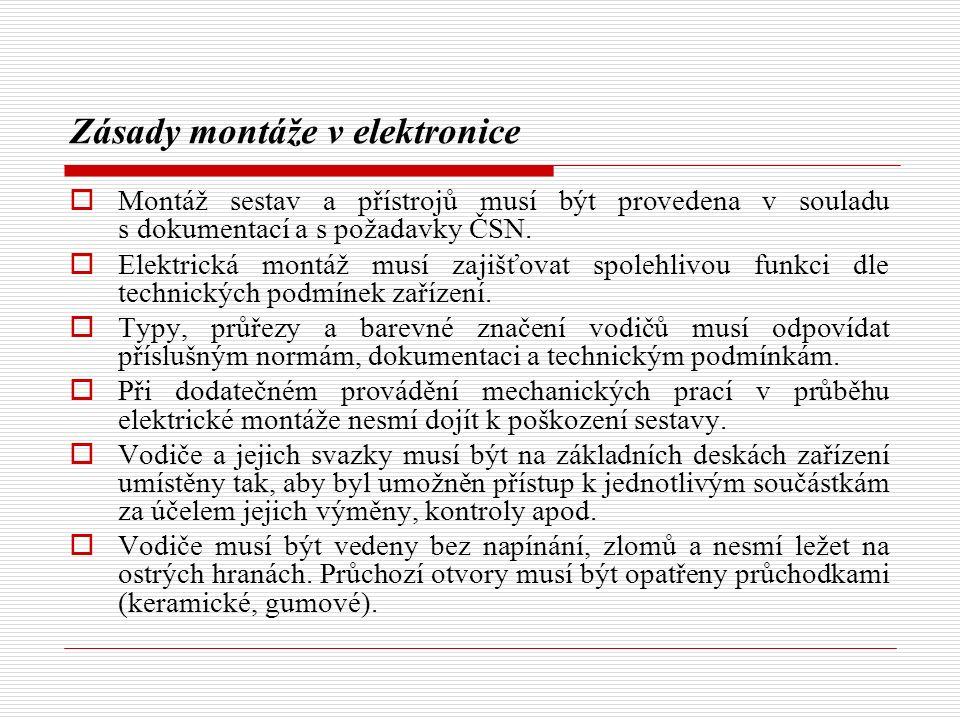 Zásady montáže v elektronice  Montáž sestav a přístrojů musí být provedena v souladu s dokumentací a s požadavky ČSN.