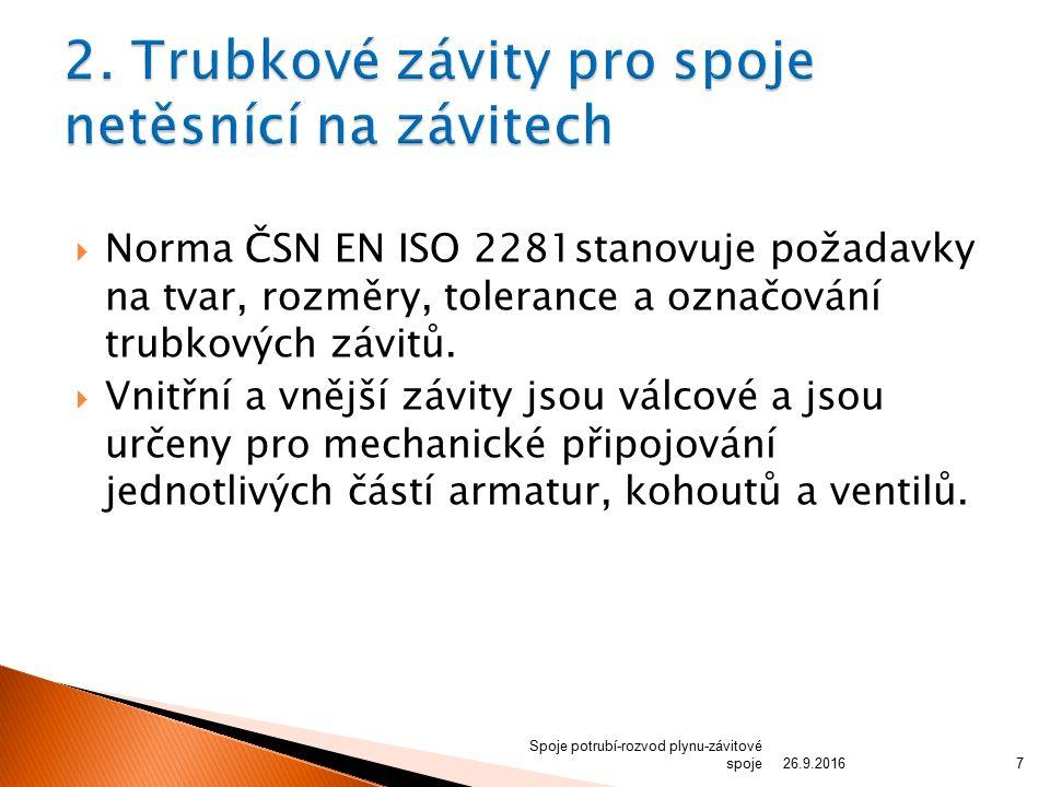  Norma ČSN EN ISO 2281stanovuje požadavky na tvar, rozměry, tolerance a označování trubkových závitů.