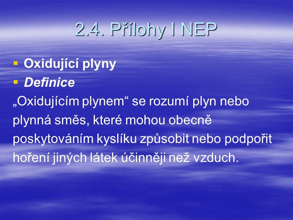 """2.4. Přílohy I NEP   Oxidující plyny   Definice """"Oxidujícím plynem"""" se rozumí plyn nebo plynná směs, které mohou obecně poskytováním kyslíku způso"""
