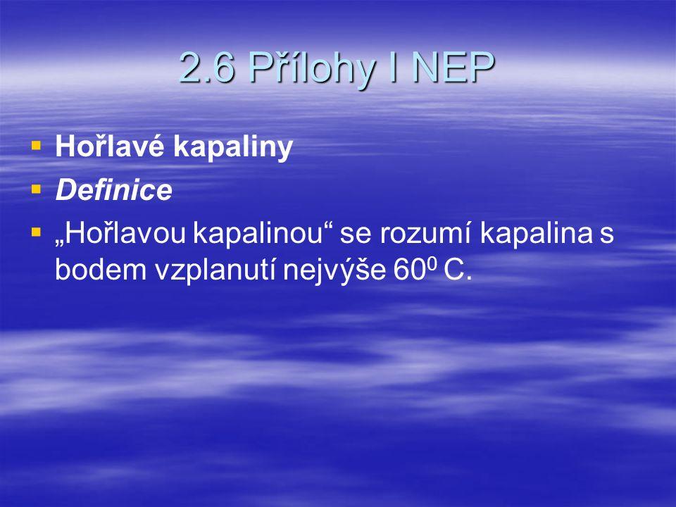 """2.6 Přílohy I NEP   Hořlavé kapaliny   Definice   """"Hořlavou kapalinou"""" se rozumí kapalina s bodem vzplanutí nejvýše 60 0 C."""